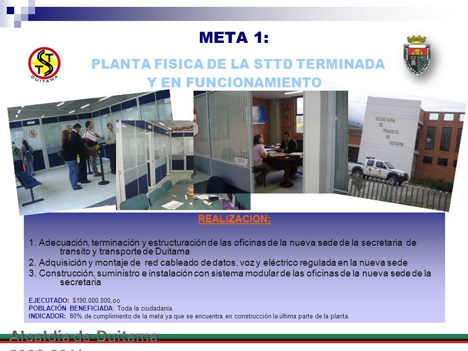 META 1: PLANTA FISICA DE LA STTD TERMINADA Y EN FUNCIONAMIENTO REALIZACION: 1. Adecuación, terminación y estructuración de las oficinas de la nueva se