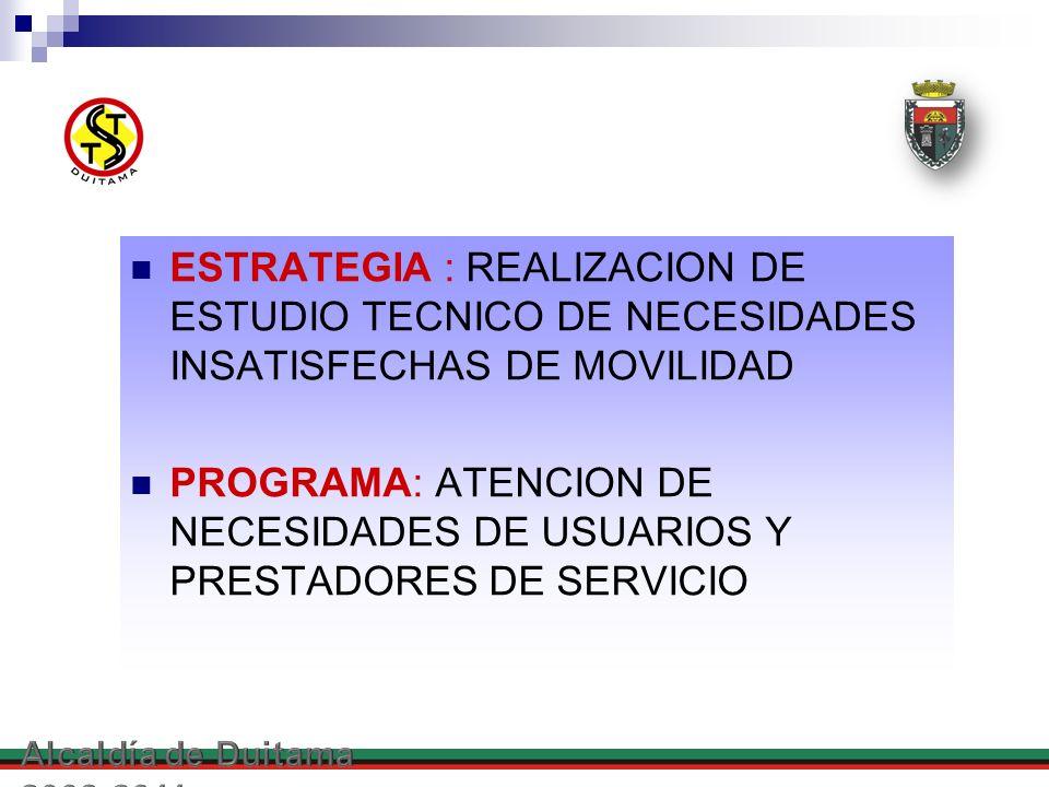 ESTRATEGIA : REALIZACION DE ESTUDIO TECNICO DE NECESIDADES INSATISFECHAS DE MOVILIDAD PROGRAMA: ATENCION DE NECESIDADES DE USUARIOS Y PRESTADORES DE S