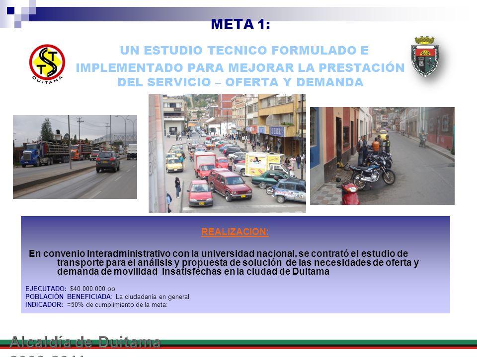 META 1: UN ESTUDIO TECNICO FORMULADO E IMPLEMENTADO PARA MEJORAR LA PRESTACIÓN DEL SERVICIO – OFERTA Y DEMANDA REALIZACION: En convenio Interadministr