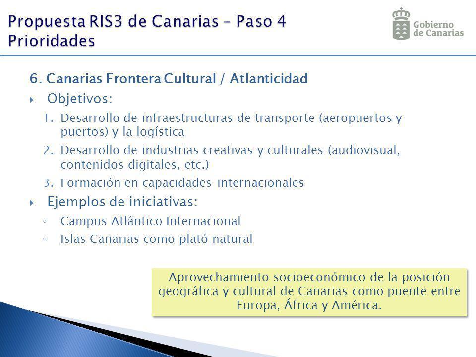6. Canarias Frontera Cultural / Atlanticidad Objetivos: 1.Desarrollo de infraestructuras de transporte (aeropuertos y puertos) y la logística 2.Desarr