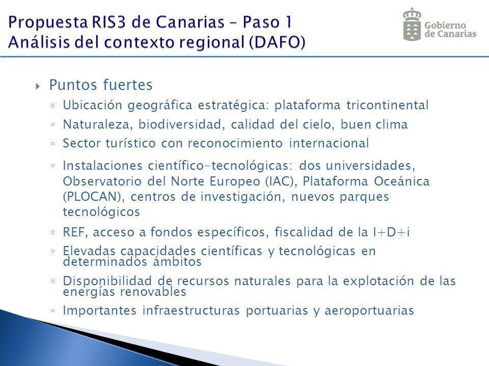 Puntos fuertes Ubicación geográfica estratégica: plataforma tricontinental Naturaleza, biodiversidad, calidad del cielo, buen clima Sector turístico c