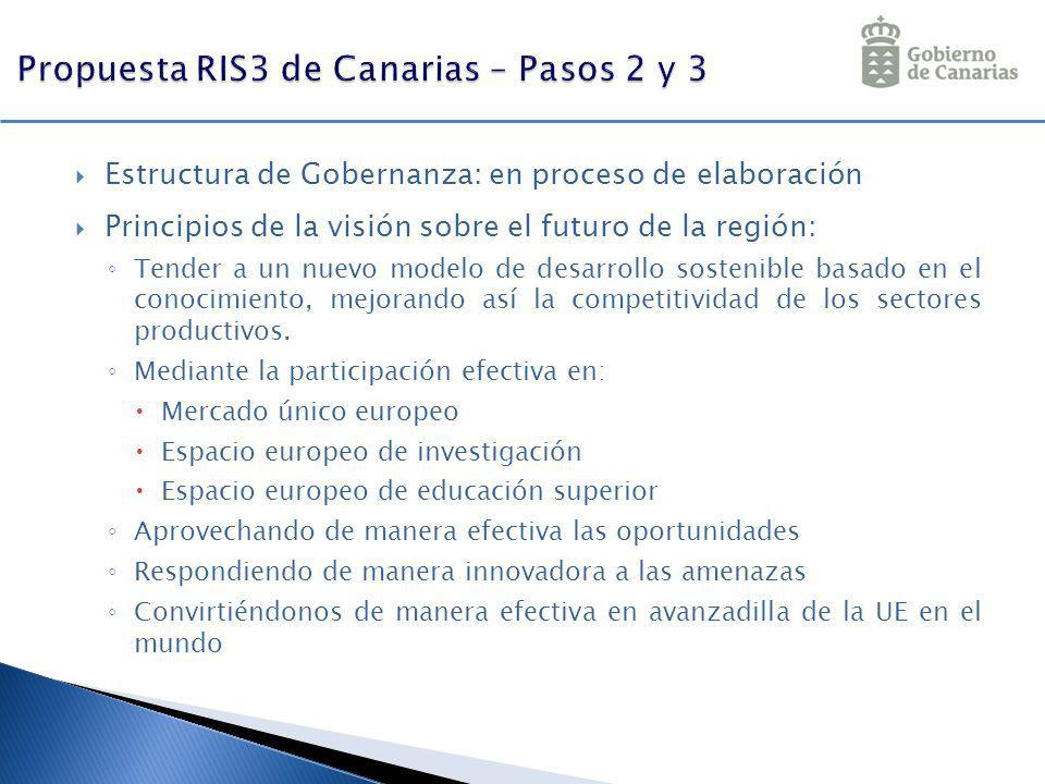 Estructura de Gobernanza: en proceso de elaboración Principios de la visión sobre el futuro de la región: Tender a un nuevo modelo de desarrollo soste