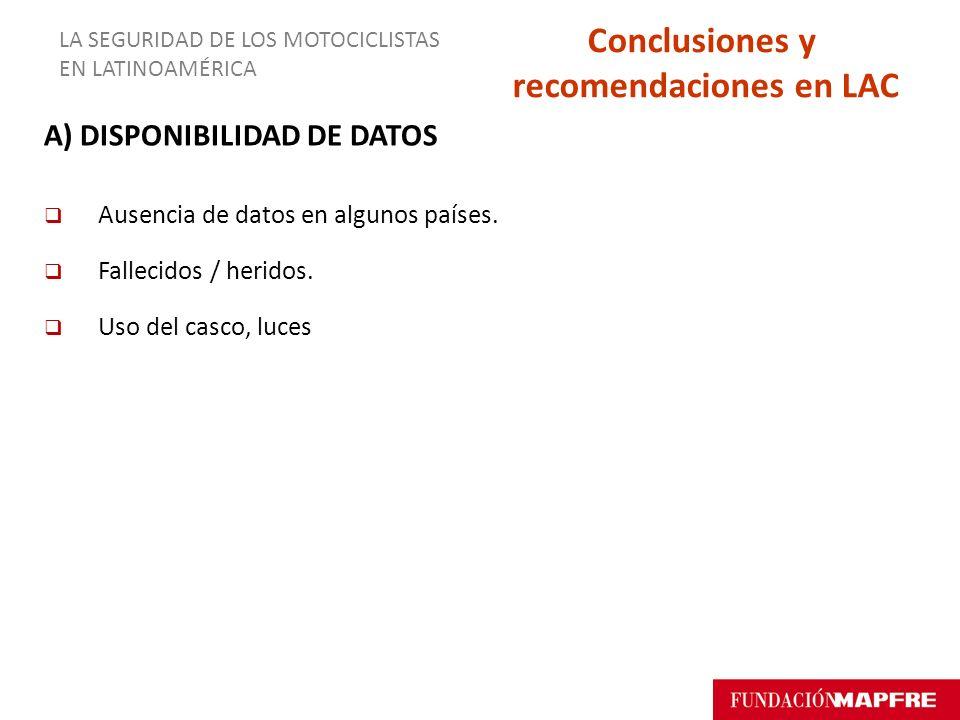 A) DISPONIBILIDAD DE DATOS Ausencia de datos en algunos países. Fallecidos / heridos. Uso del casco, luces LA SEGURIDAD DE LOS MOTOCICLISTAS EN LATINO