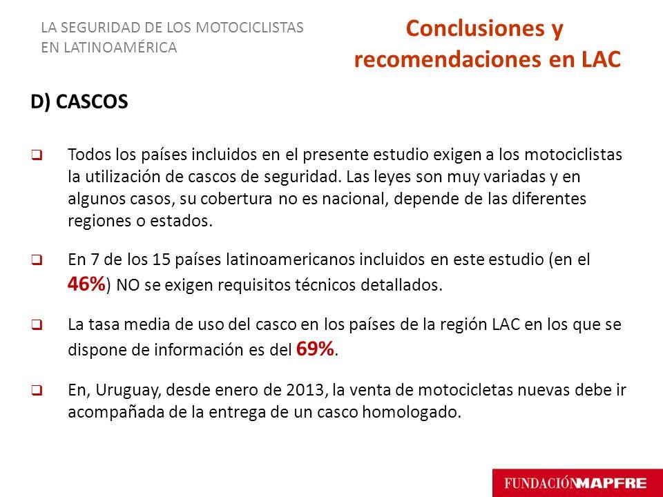 D) CASCOS Todos los países incluidos en el presente estudio exigen a los motociclistas la utilización de cascos de seguridad. Las leyes son muy variad