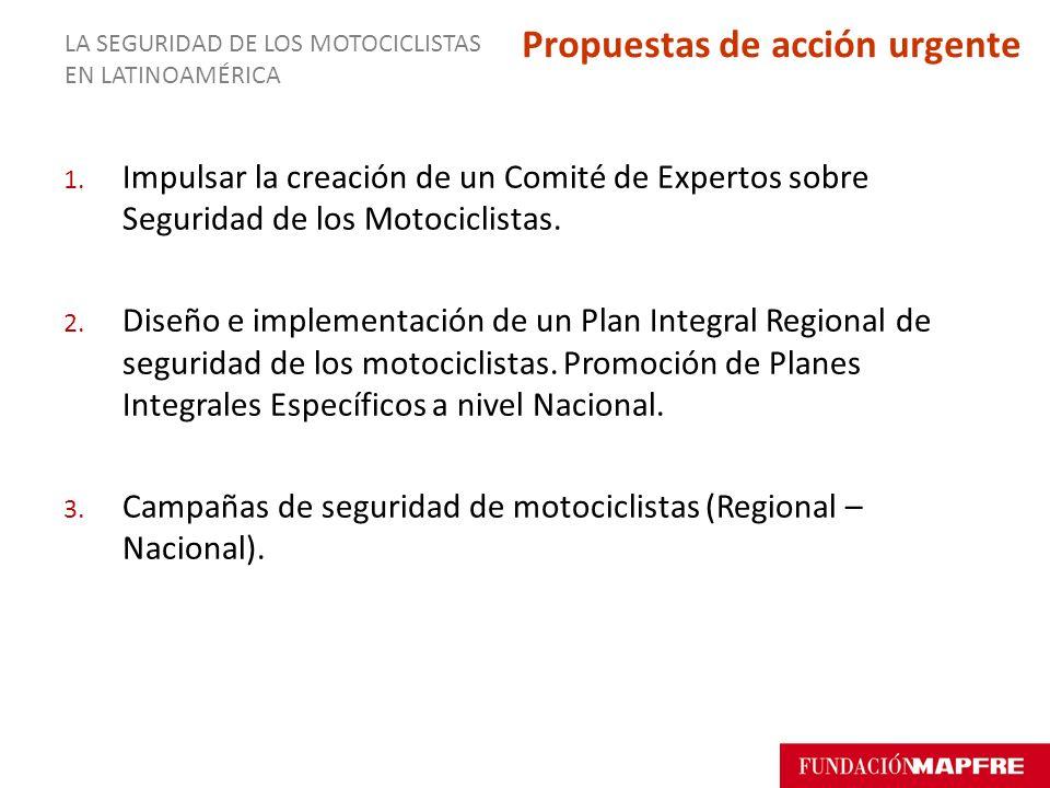 1. Impulsar la creación de un Comité de Expertos sobre Seguridad de los Motociclistas. 2. Diseño e implementación de un Plan Integral Regional de segu