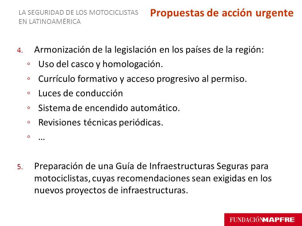 4. Armonización de la legislación en los países de la región: Uso del casco y homologación. Currículo formativo y acceso progresivo al permiso. Luces