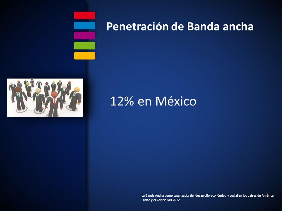 Penetración de Banda ancha 12% en México La Banda Ancha como catalizador del desarrollo económico y social en los países de América Latina y el Caribe BID 2012