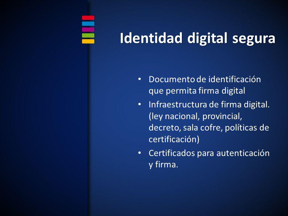 Identidad digital segura Documento de identificación que permita firma digital Infraestructura de firma digital.