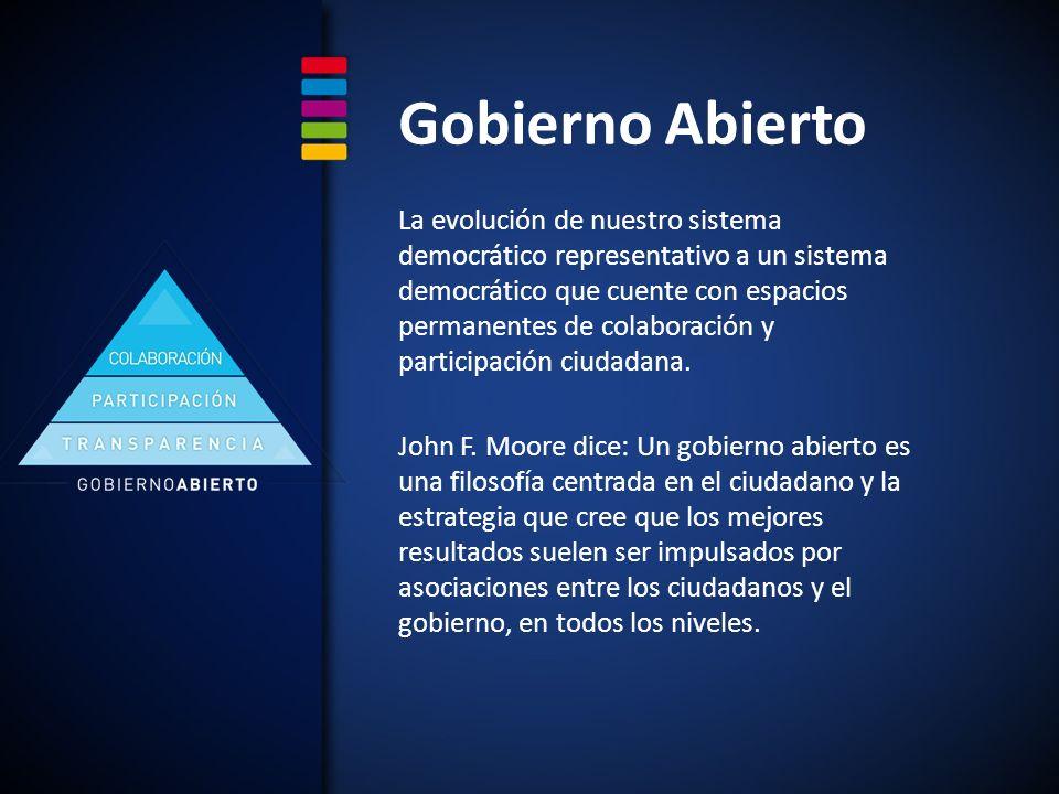 Gobierno Abierto La evolución de nuestro sistema democrático representativo a un sistema democrático que cuente con espacios permanentes de colaboración y participación ciudadana.