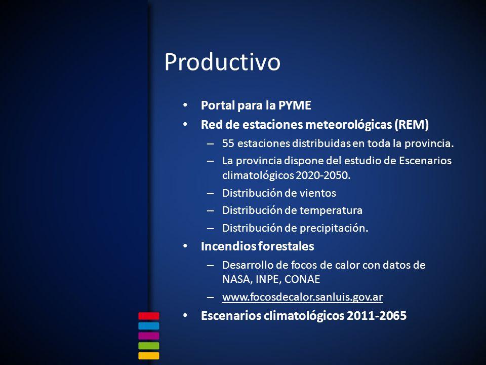 Productivo Portal para la PYME Red de estaciones meteorológicas (REM) – 55 estaciones distribuidas en toda la provincia.