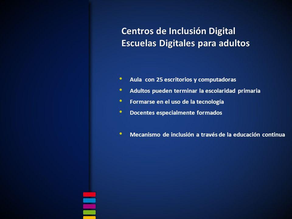 Aula con 25 escritorios y computadoras Adultos pueden terminar la escolaridad primaria Formarse en el uso de la tecnología Docentes especialmente formados Mecanismo de inclusión a través de la educación continua Centros de Inclusión Digital Escuelas Digitales para adultos
