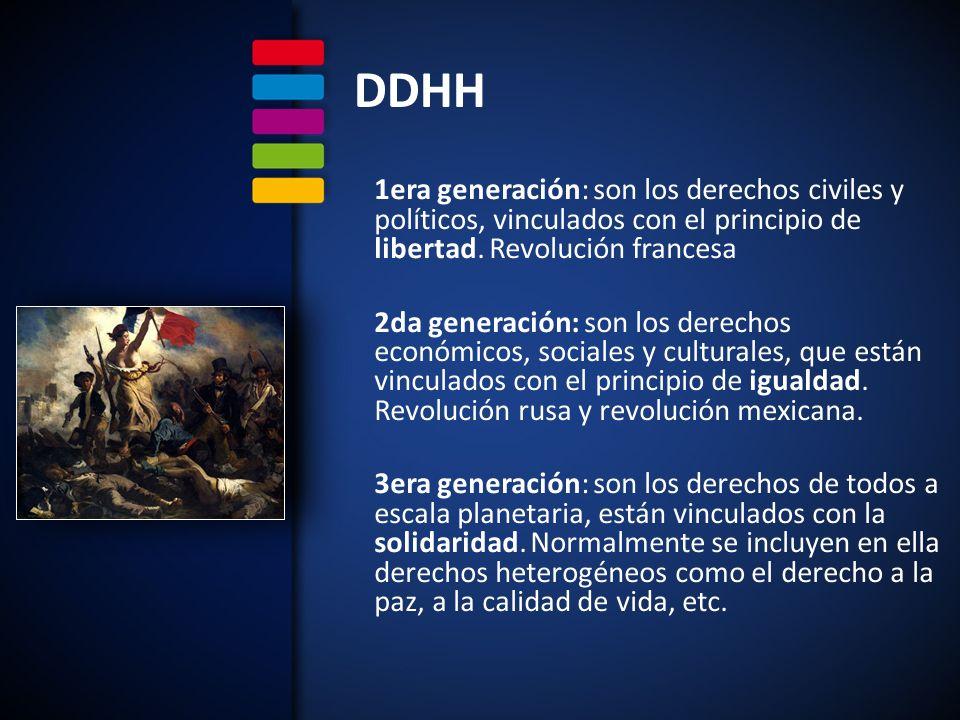 DDHH 4era generación: están vinculados con derechos humanos en relación con las nuevas tecnologías, el elemento diferenciador sería que, mientras las tres primeras generaciones se refieren al ser humano como miembro de la sociedad, los derechos de la cuarta harían referencia al ser humano como especie.