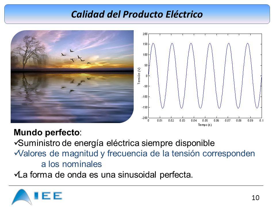 10 Calidad del Producto Eléctrico Mundo perfecto: Suministro de energía eléctrica siempre disponible Valores de magnitud y frecuencia de la tensión co