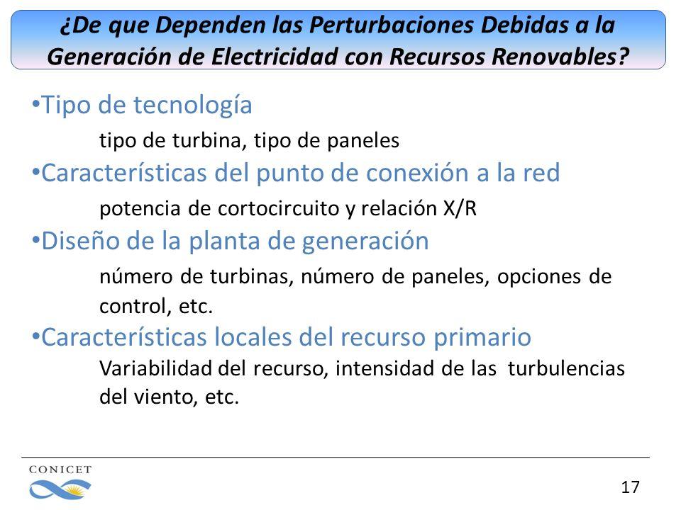 17 ¿De que Dependen las Perturbaciones Debidas a la Generación de Electricidad con Recursos Renovables? Tipo de tecnología tipo de turbina, tipo de pa