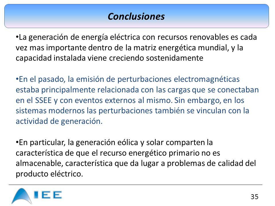 35 Conclusiones La generación de energía eléctrica con recursos renovables es cada vez mas importante dentro de la matriz energética mundial, y la cap