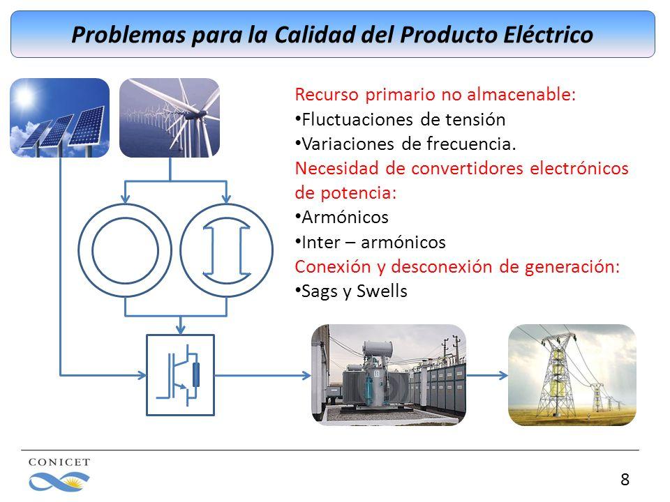 8 Problemas para la Calidad del Producto Eléctrico Recurso primario no almacenable: Fluctuaciones de tensión Variaciones de frecuencia. Necesidad de c
