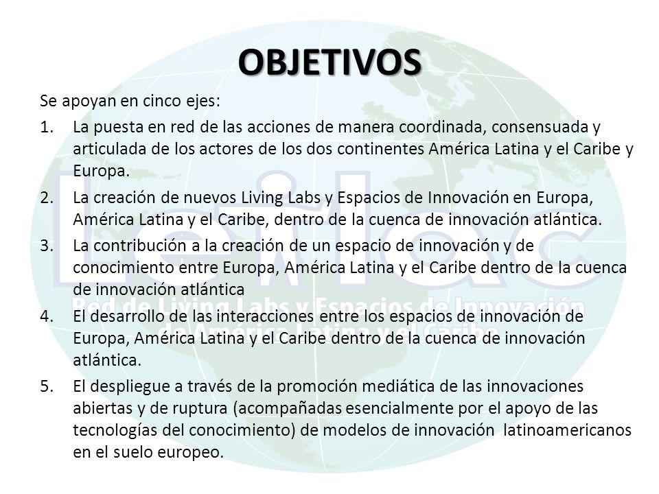 OBJETIVOS Se apoyan en cinco ejes: 1.La puesta en red de las acciones de manera coordinada, consensuada y articulada de los actores de los dos continentes América Latina y el Caribe y Europa.