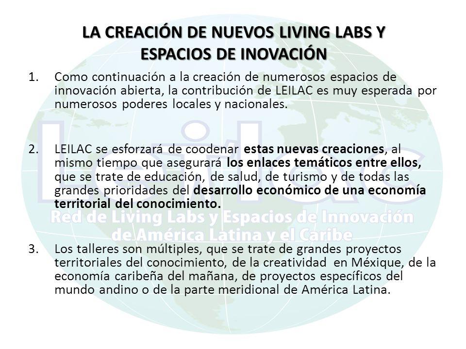 LA CREACIÓN DE NUEVOS LIVING LABS Y ESPACIOS DE INOVACIÓN 1.Como continuación a la creación de numerosos espacios de innovación abierta, la contribución de LEILAC es muy esperada por numerosos poderes locales y nacionales.