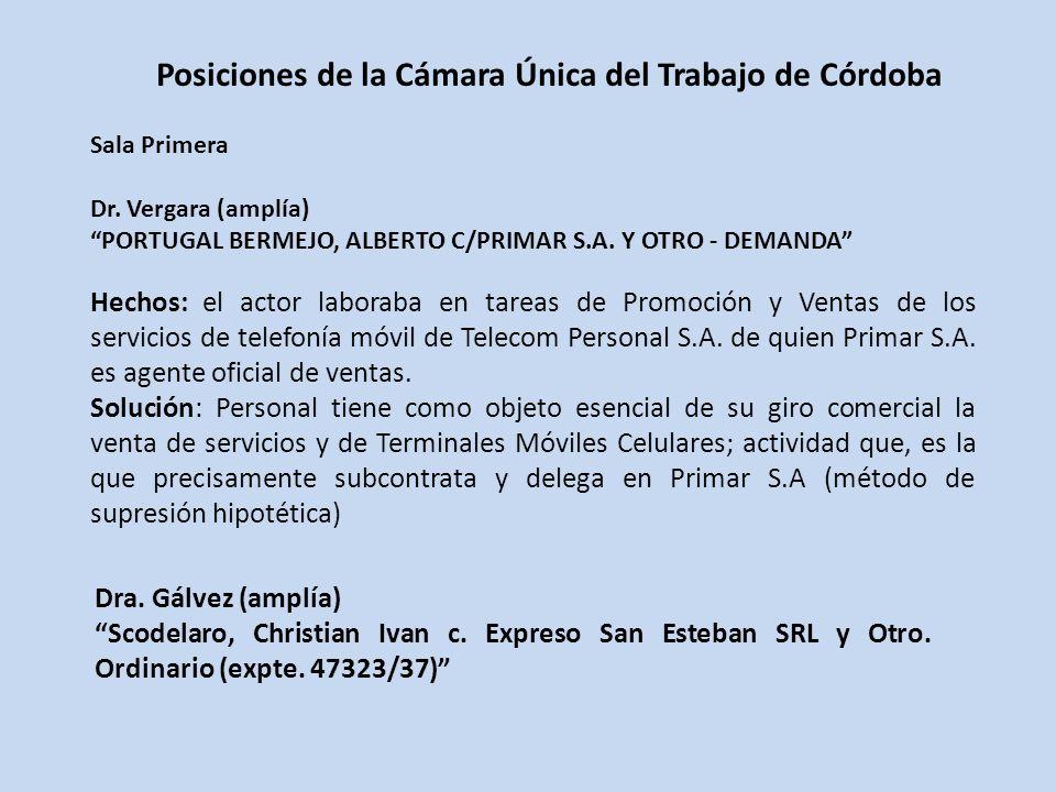 Posiciones de la Cámara Única del Trabajo de Córdoba Sala Primera Dr.