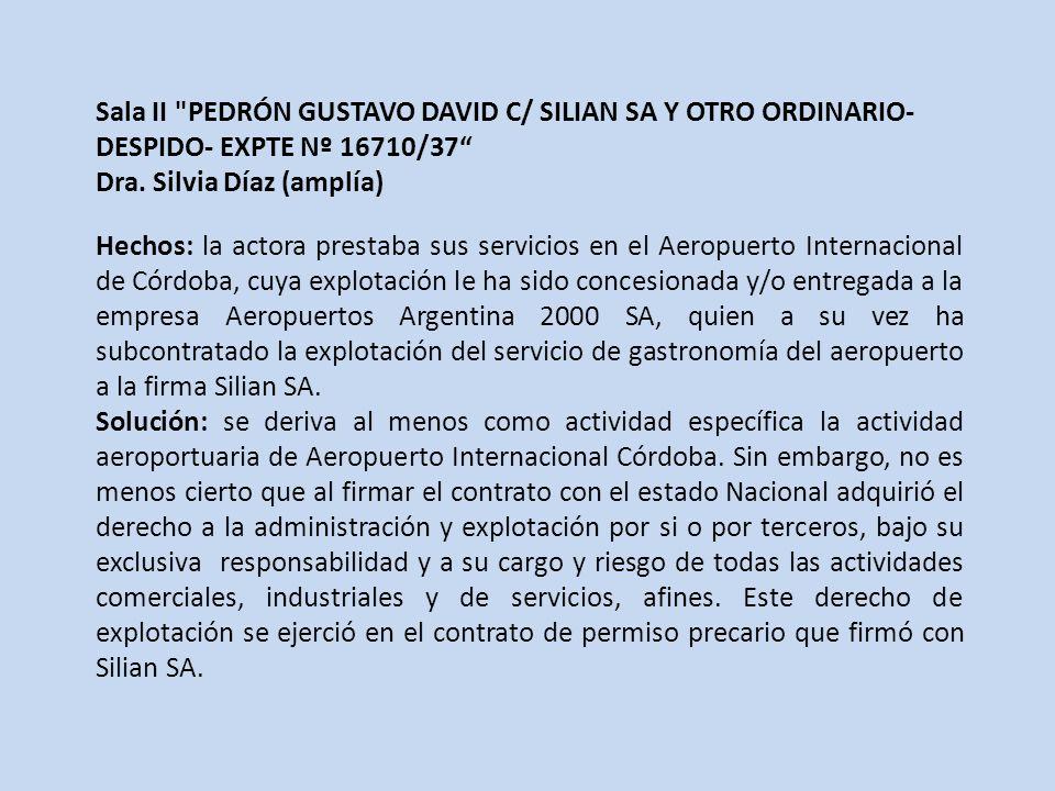 Sala II PEDRÓN GUSTAVO DAVID C/ SILIAN SA Y OTRO ORDINARIO- DESPIDO- EXPTE Nº 16710/37 Dra.
