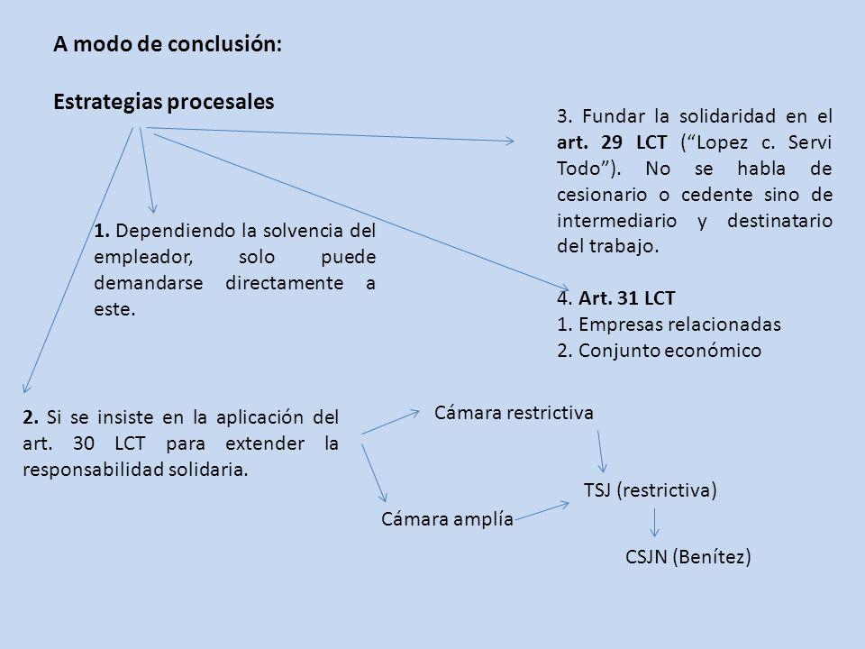 A modo de conclusión: Estrategias procesales 2.Si se insiste en la aplicación del art.