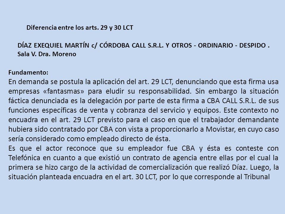 Diferencia entre los arts.29 y 30 LCT DÍAZ EXEQUIEL MARTÍN c/ CÓRDOBA CALL S.R.L.