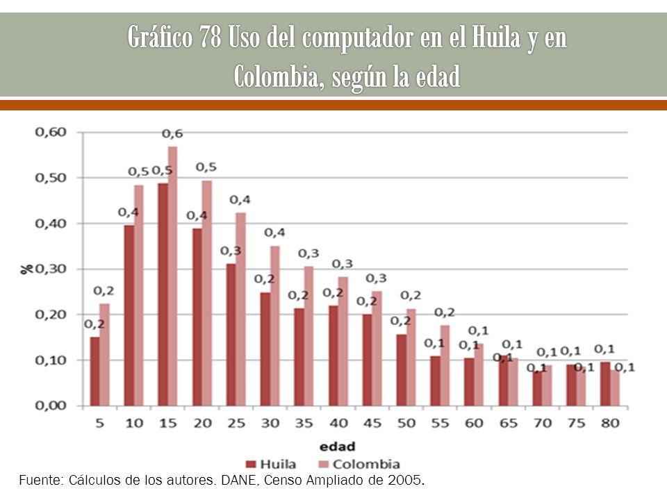 Fuente: Cálculos de los autores. DANE, Censo Ampliado de 2005.