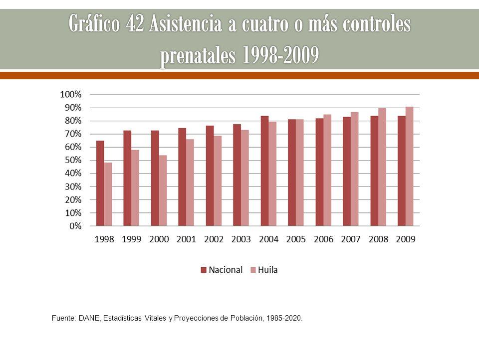 Fuente: DANE, Estadísticas Vitales y Proyecciones de Población, 1985-2020.
