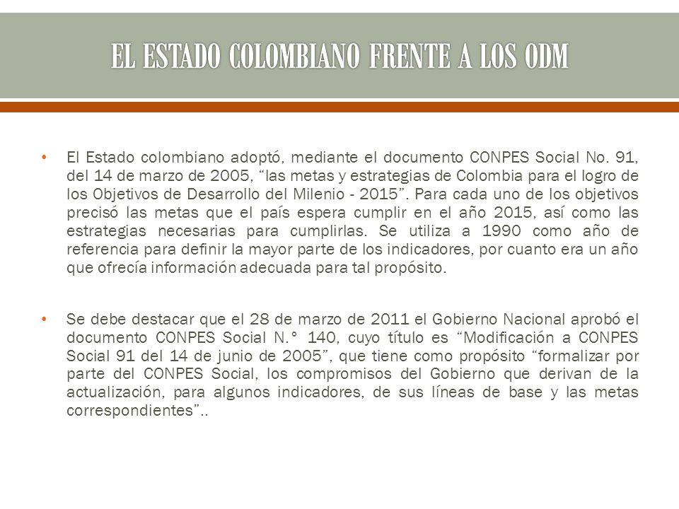 El Estado colombiano adoptó, mediante el documento CONPES Social No. 91, del 14 de marzo de 2005, las metas y estrategias de Colombia para el logro de