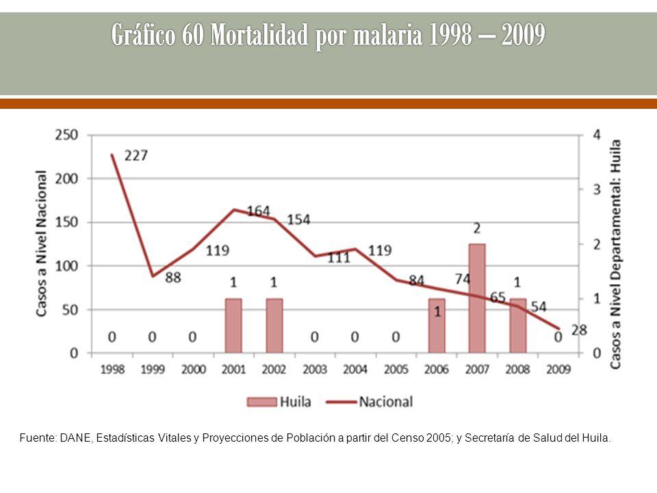 Fuente: DANE, Estadísticas Vitales y Proyecciones de Población a partir del Censo 2005; y Secretaría de Salud del Huila.