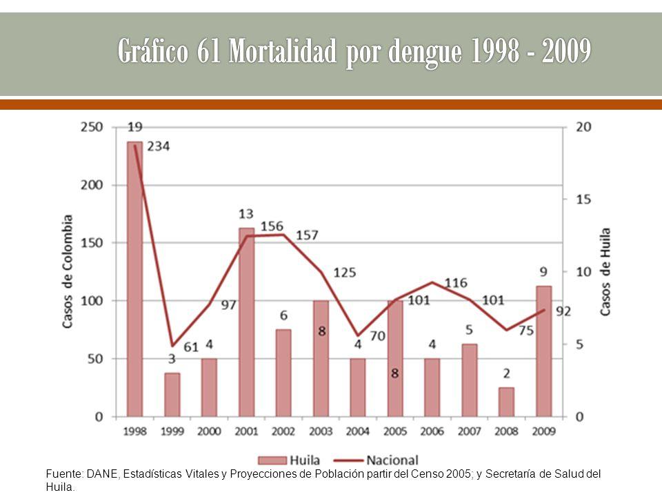 Fuente: DANE, Estadísticas Vitales y Proyecciones de Población partir del Censo 2005; y Secretaría de Salud del Huila.