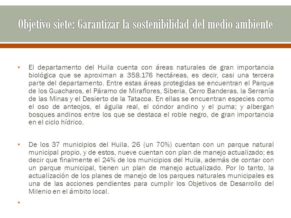 El departamento del Huila cuenta con áreas naturales de gran importancia biológica que se aproximan a 358.176 hectáreas, es decir, casi una tercera pa