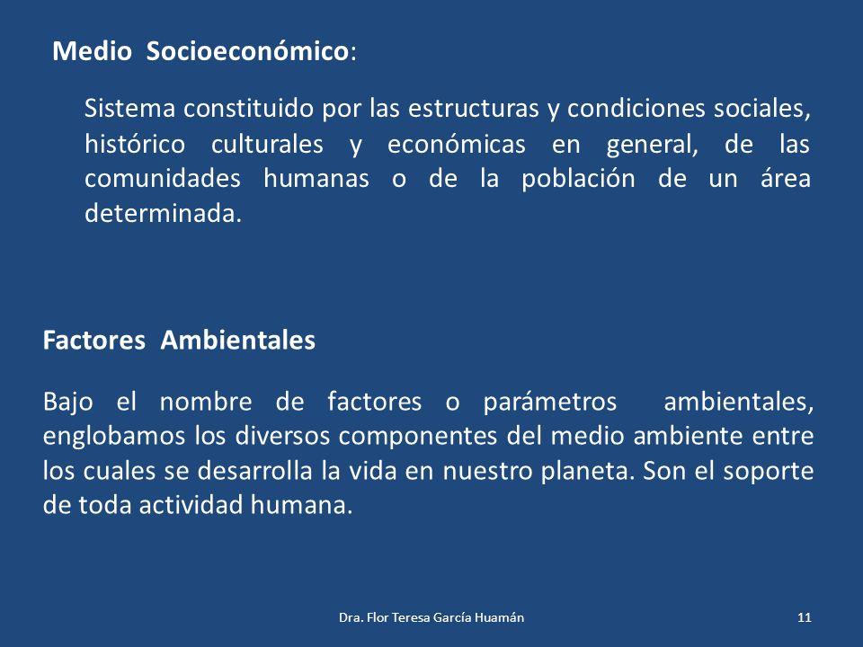 Medio Socioeconómico: Sistema constituido por las estructuras y condiciones sociales, histórico culturales y económicas en general, de las comunidades