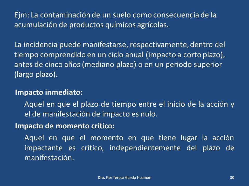 Ejm: La contaminación de un suelo como consecuencia de la acumulación de productos químicos agrícolas. La incidencia puede manifestarse, respectivamen