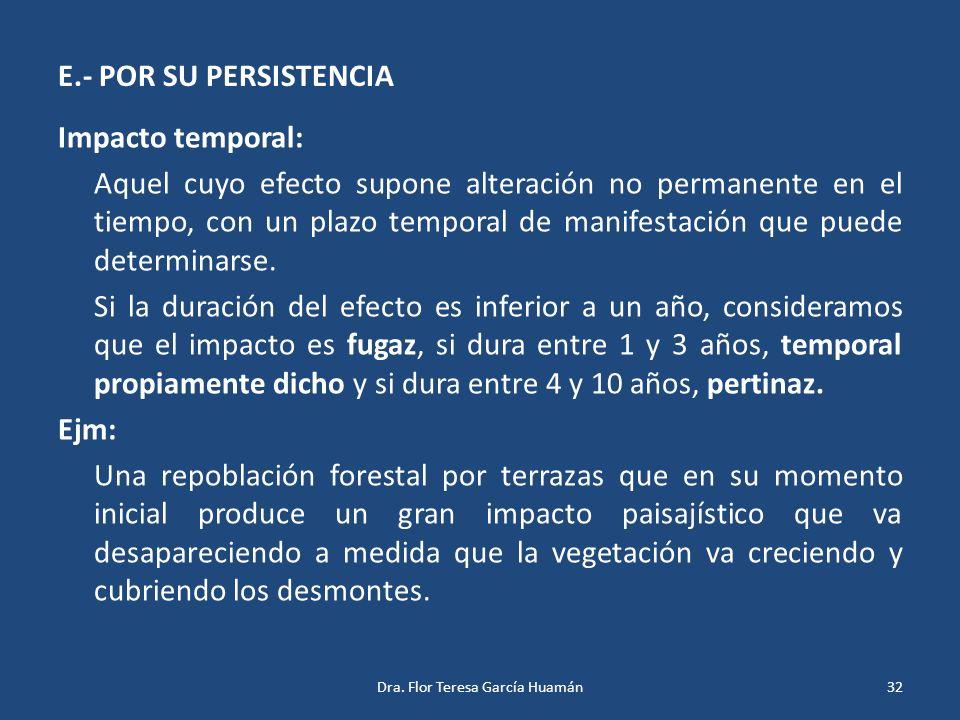 E.- POR SU PERSISTENCIA Impacto temporal: Aquel cuyo efecto supone alteración no permanente en el tiempo, con un plazo temporal de manifestación que p