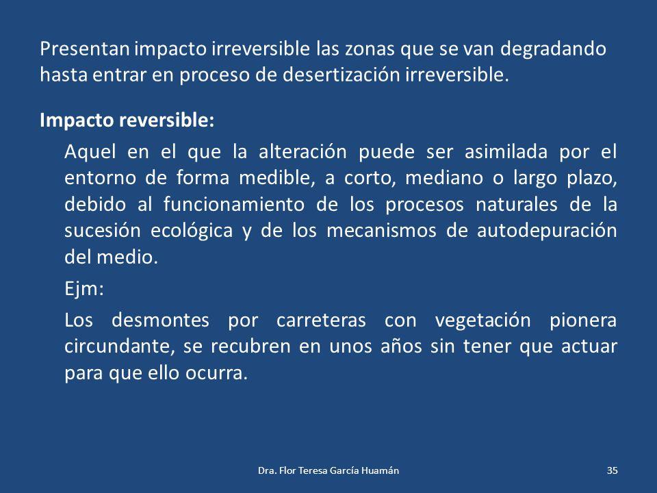 Presentan impacto irreversible las zonas que se van degradando hasta entrar en proceso de desertización irreversible. Impacto reversible: Aquel en el
