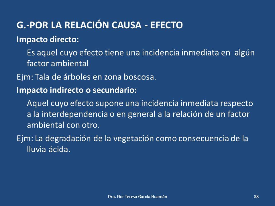 G.-POR LA RELACIÓN CAUSA - EFECTO Impacto directo: Es aquel cuyo efecto tiene una incidencia inmediata en algún factor ambiental Ejm: Tala de árboles
