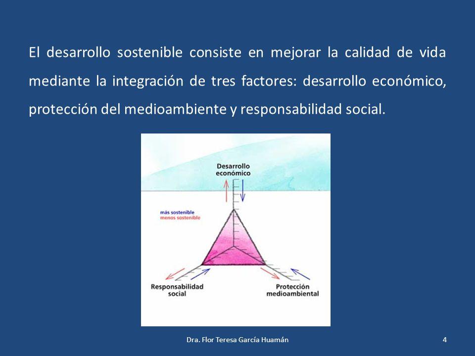 El desarrollo sostenible consiste en mejorar la calidad de vida mediante la integración de tres factores: desarrollo económico, protección del medioam