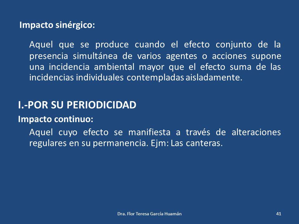 Impacto sinérgico: Aquel que se produce cuando el efecto conjunto de la presencia simultánea de varios agentes o acciones supone una incidencia ambien