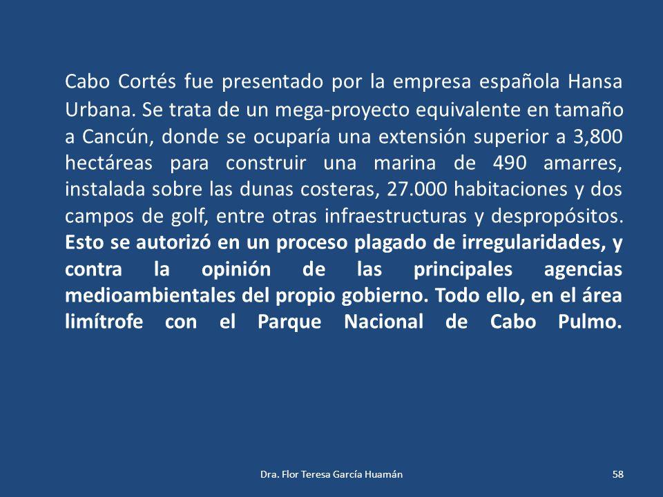 Cabo Cortés fue presentado por la empresa española Hansa Urbana. Se trata de un mega-proyecto equivalente en tamaño a Cancún, donde se ocuparía una ex