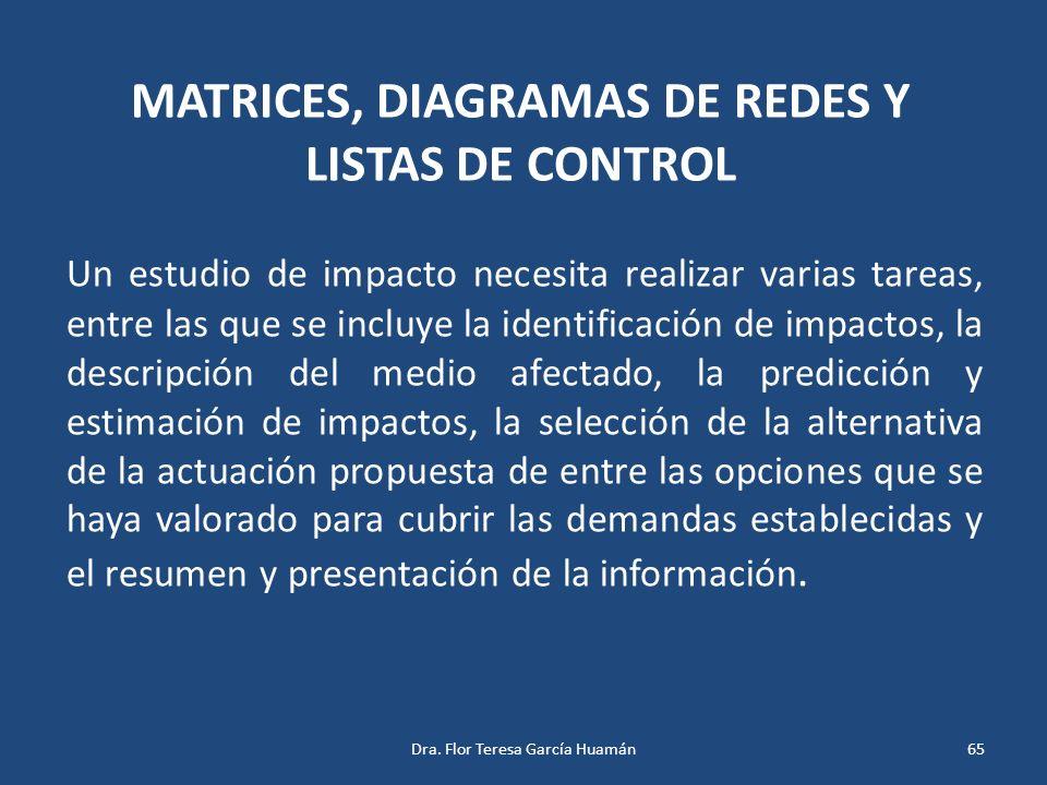 MATRICES, DIAGRAMAS DE REDES Y LISTAS DE CONTROL Un estudio de impacto necesita realizar varias tareas, entre las que se incluye la identificación de