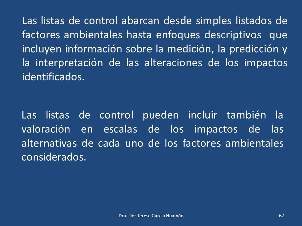 Las listas de control abarcan desde simples listados de factores ambientales hasta enfoques descriptivos que incluyen información sobre la medición, l
