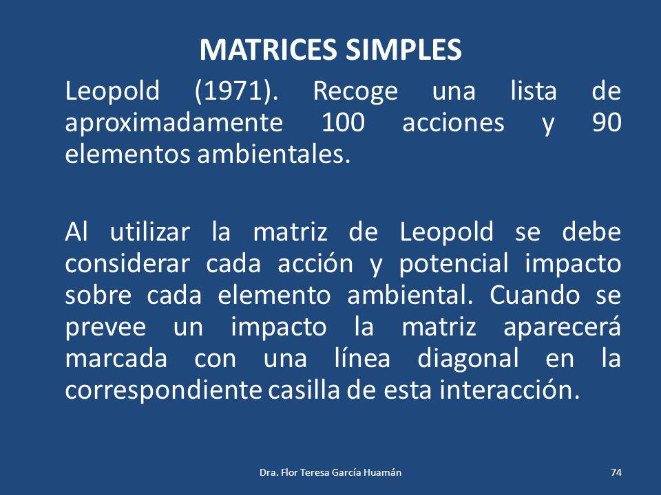 MATRICES SIMPLES Leopold (1971). Recoge una lista de aproximadamente 100 acciones y 90 elementos ambientales. Al utilizar la matriz de Leopold se debe