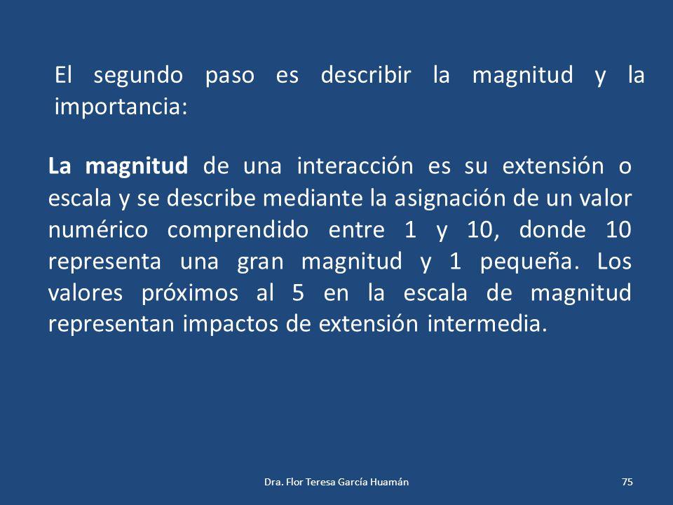 El segundo paso es describir la magnitud y la importancia: La magnitud de una interacción es su extensión o escala y se describe mediante la asignació