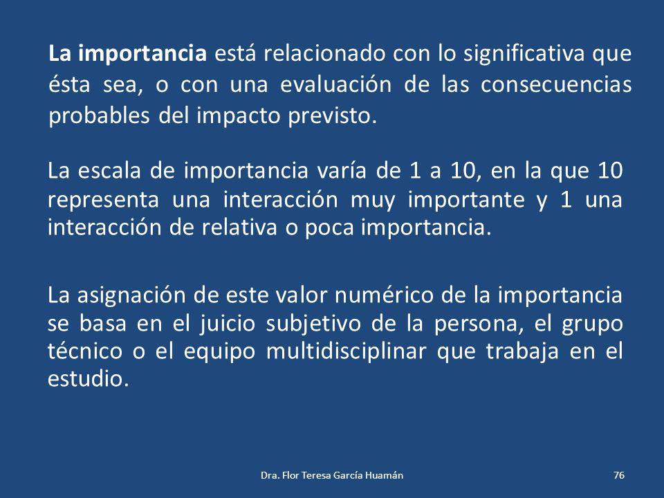 La importancia está relacionado con lo significativa que ésta sea, o con una evaluación de las consecuencias probables del impacto previsto. La escala