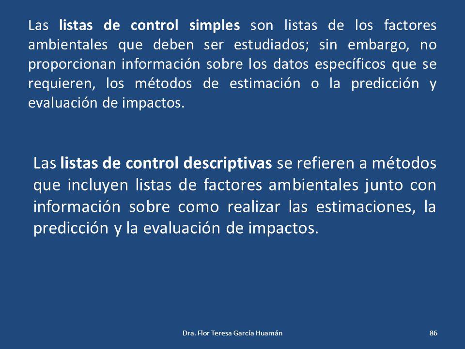 Las listas de control simples son listas de los factores ambientales que deben ser estudiados; sin embargo, no proporcionan información sobre los dato