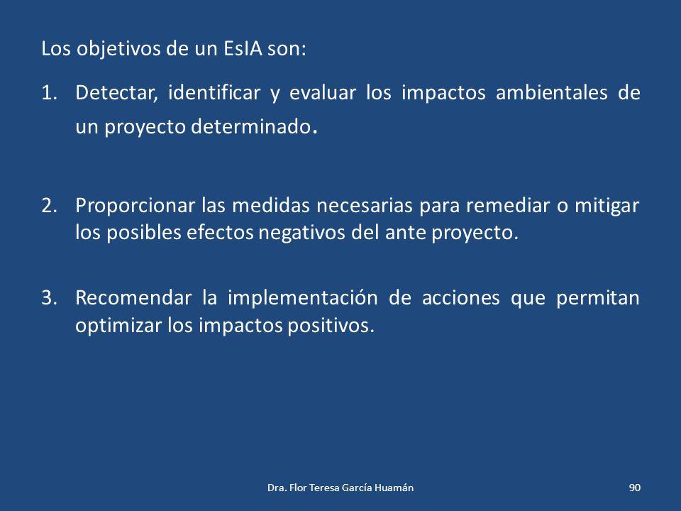 Los objetivos de un EsIA son: 1.Detectar, identificar y evaluar los impactos ambientales de un proyecto determinado. 2.Proporcionar las medidas necesa