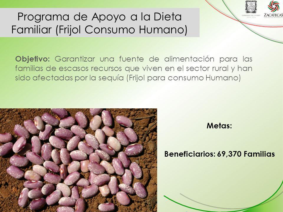 Programa de Apoyo a la Dieta Familiar (Frijol Consumo Humano) Objetivo: Garantizar una fuente de alimentación para las familias de escasos recursos que viven en el sector rural y han sido afectadas por la sequía (Frijol para consumo Humano) Metas: Beneficiarios: 69,370 Familias