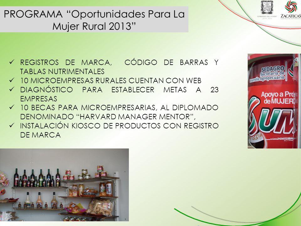 PROGRAMA Oportunidades Para La Mujer Rural 2013 REGISTROS DE MARCA, CÓDIGO DE BARRAS Y TABLAS NUTRIMENTALES 10 MICROEMPRESAS RURALES CUENTAN CON WEB DIAGNÓSTICO PARA ESTABLECER METAS A 23 EMPRESAS 10 BECAS PARA MICROEMPRESARIAS, AL DIPLOMADO DENOMINADO HARVARD MANAGER MENTOR, INSTALACIÓN KIOSCO DE PRODUCTOS CON REGISTRO DE MARCA
