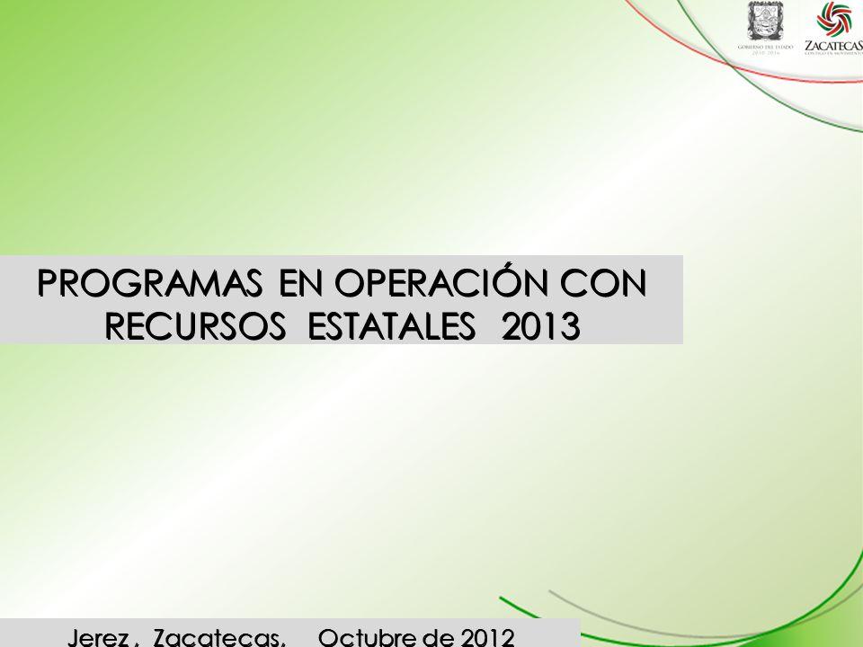 PROGRAMAS EN OPERACIÓN CON RECURSOS ESTATALES 2013 Jerez, Zacatecas, Octubre de 2012